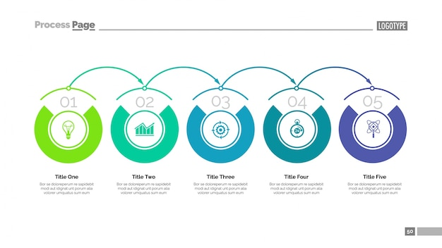 Cinco etapas do modelo de slide de desenvolvimento. dados comerciais. gráfico, diagrama, design. conceito criativo para infografia, projeto. pode ser usado para tópicos como solução, sistema de organização, planejamento