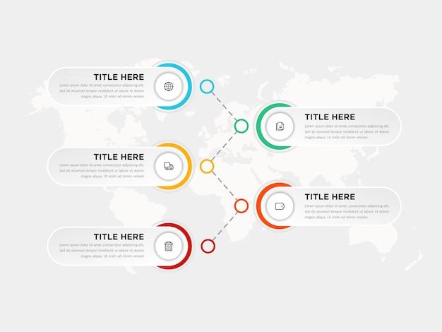 Cinco etapas infográfico elemento estratégia de negócios com ícones