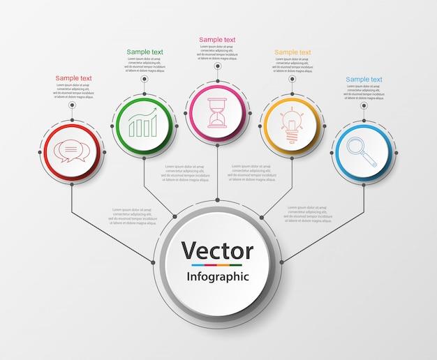Cinco etapas infográficos com círculos coloridos