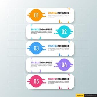 Cinco etapas infográficos de negócios