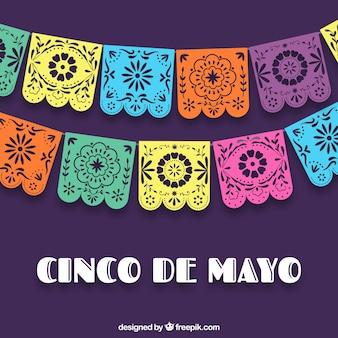 Cinco fundo colorido de mayo