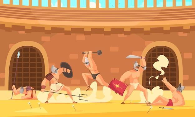 Cinco gladiadores romanos lutando no desenho do coliseu
