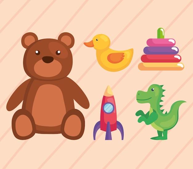 Cinco ícones de brinquedos infantis