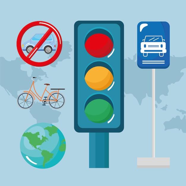 Cinco ícones de dia sem carro