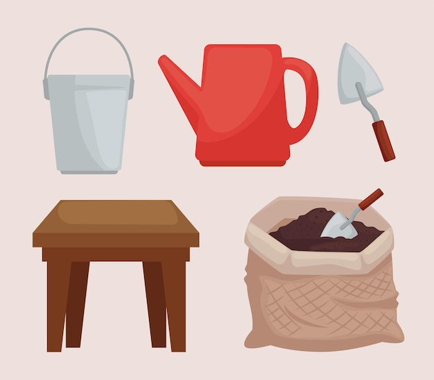Cinco ícones de plantio
