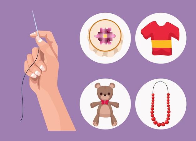 Cinco ícones de projetos de artesanato
