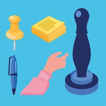Cinco ícones de serviços notariais