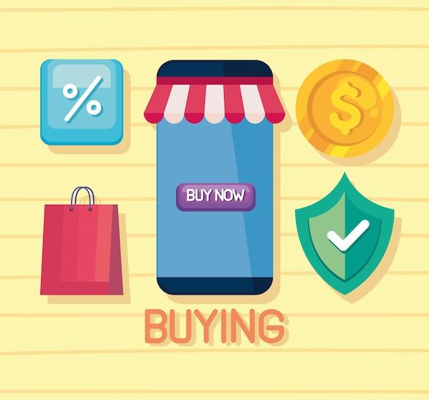 Cinco ícones de tecnologia de compra