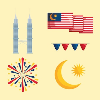 Cinco ícones merdeka
