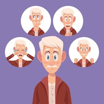 Cinco idosos com alzheimer