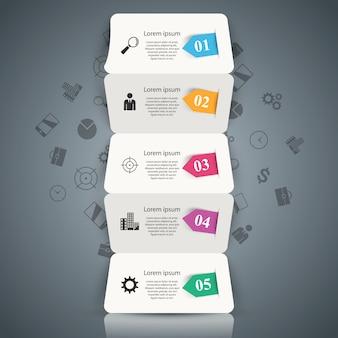 Cinco infográfico de origami de negócios de papel