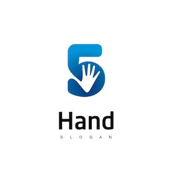 Cinco logotipo com símbolo de mão