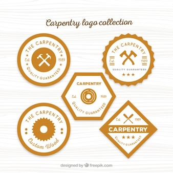 Cinco logotipos para carpintaria