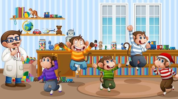Cinco macaquinhos pulando na cena da sala com um médico