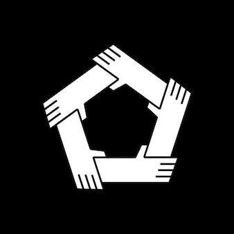 Cinco mãos segurando o logotipo da unidade de trabalho em equipe de outra equipe