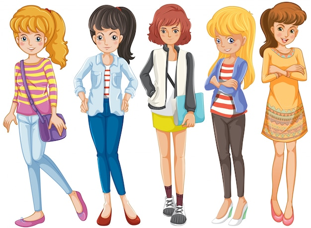 Cinco meninas da universidade em pé
