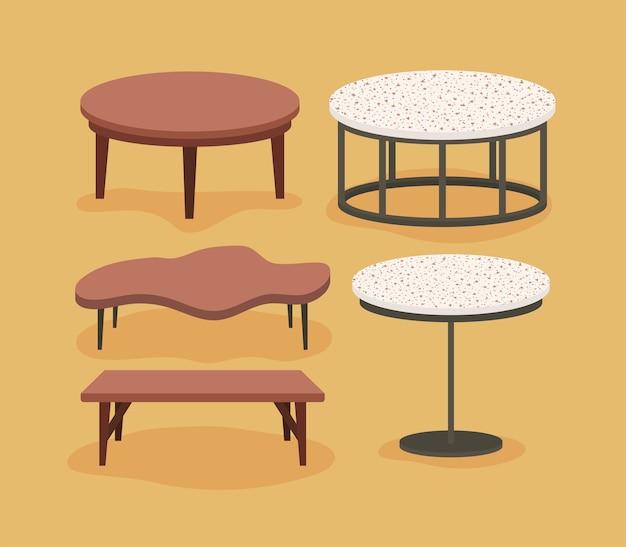 Cinco mesas de sala