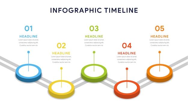 Cinco opções de infográficos para etapas, linha do tempo, fluxo de trabalho
