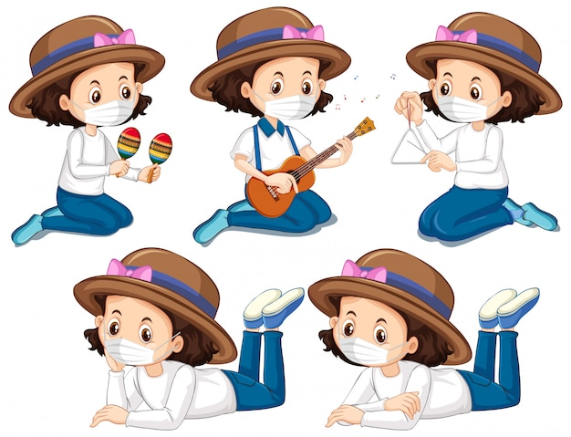 Cinco personagens da garota do chapéu usando máscara