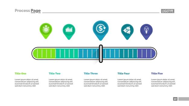 Cinco ponteiros escala modelo de gráfico de processo de metáfora para apresentação.