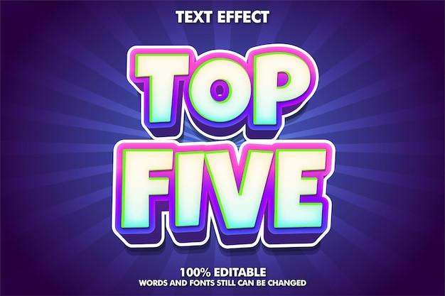 Cinco principais efeitos de texto editáveis texto de desenho animado em negrito
