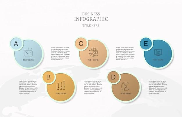 Cinco processo infográfico para o conceito de negócio.