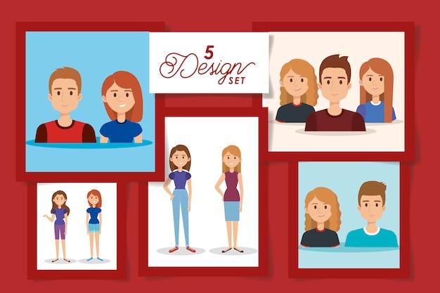 Cinco projetos de personagens de avatar de jovens