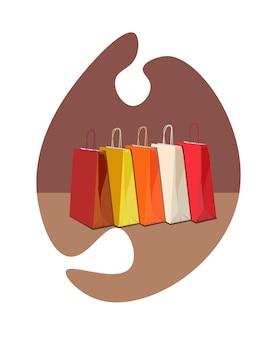 Cinco sacolas de compras multicoloridas para ilustração vetorial de compras da black friday