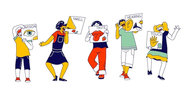 Cinco sentidos do conceito de percepção humana. personagens de crianças ficam em fila, segure cartas, visão, olfato, paladar, audição e sentimentos de toque. olho, nariz, língua, orelha e mão. ilustração em vetor de pessoas lineares
