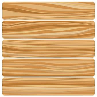 Cinco tábuas de madeira. textura de madeira abstrata de vetor em design plano.