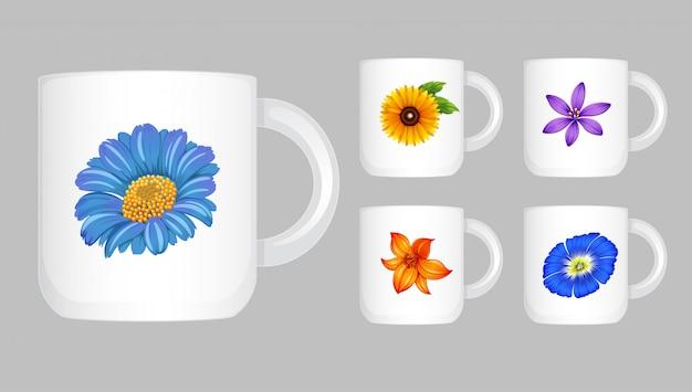 Cinco xícaras de café com gráfico de flores