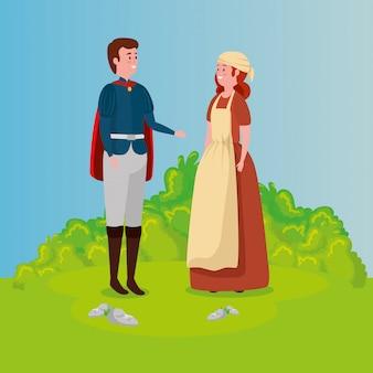 Cinderela com o príncipe no conto de fadas de cena