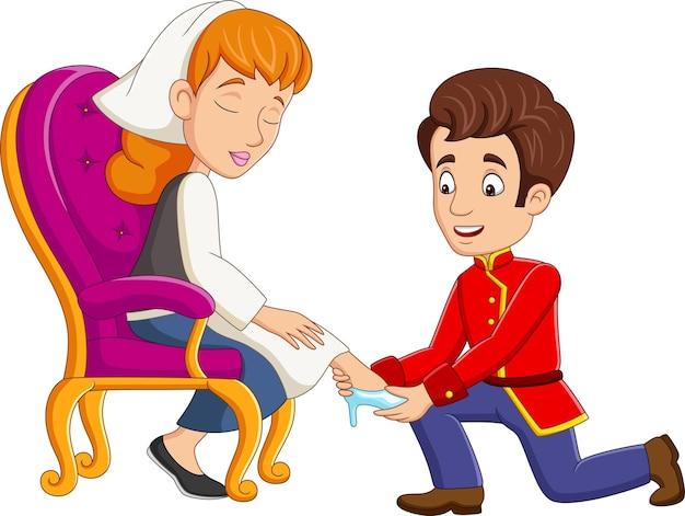 Cinderela de desenho animado usa o sapatinho de cristal do príncipe