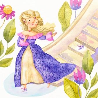 Cinderela menina com folhas e escadas