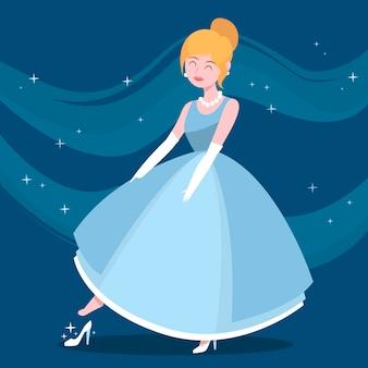 Cinderela no vestido azul
