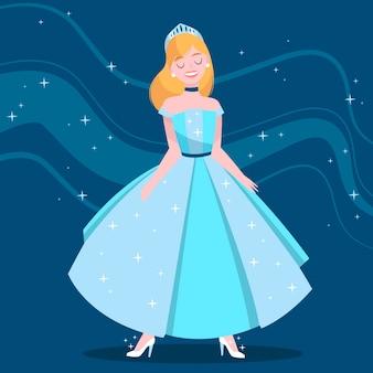 Cinderela sorridente vestido azul