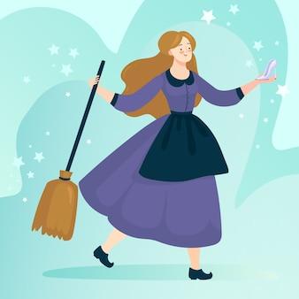 Cinderela vestindo roupa de empregada
