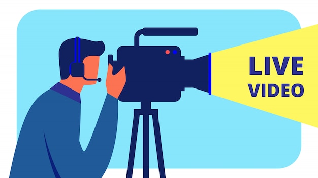 Cinegrafista em headphones shoots live video