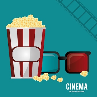 Cinema 3d glasses pop corn e filmstrip