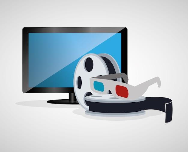 Cinema 3d óculos carretel filme tv plasma