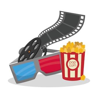 Cinema 3d óculos reeelfilm balde pipoca