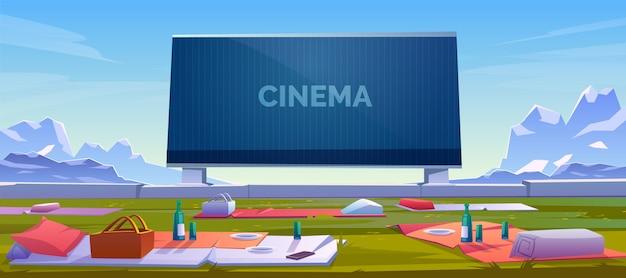Cinema ao ar livre com ilustração de cobertores de piquenique