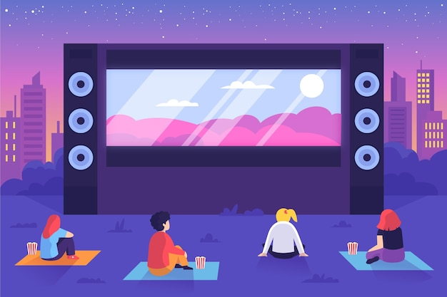 Cinema ao ar livre com telão