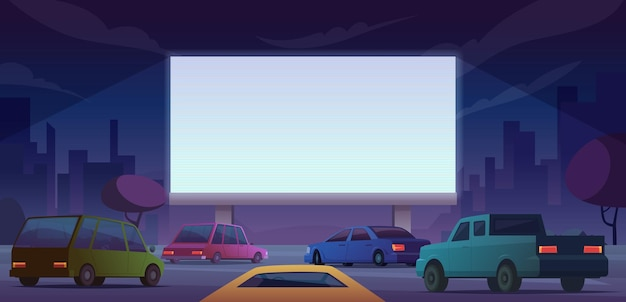 Cinema ao ar livre. dirija as pessoas do cinema público assistindo filme da paisagem dos desenhos animados de vetor de carros próprios. ilustração de cinema, cinema, entretenimento ao ar livre
