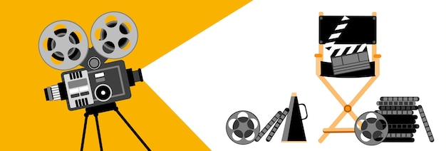Cinema banner retro filme projetor strip film cinema