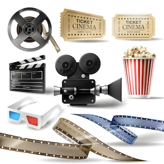 Cinema clipart de objetos 3d realistas