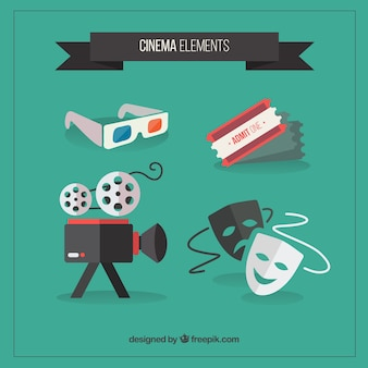 Cinema coleção de acessórios em design plano