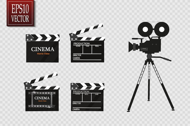 Cinema com carretel de filme e clapper board.