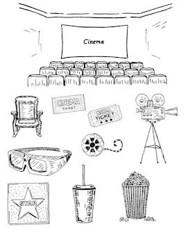 Cinema conjunto mão desenhada