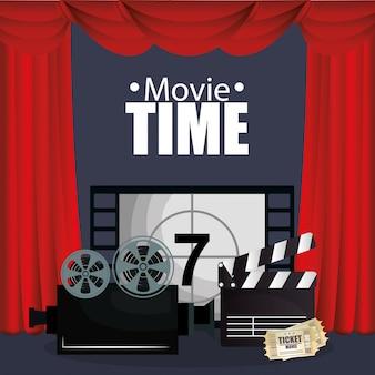 Cinema courtain com ícones de filmes